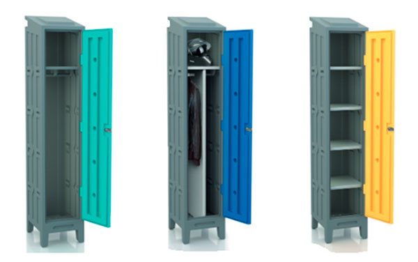 Polyethylene locker with shelf, rail and bulkhead adjustable 3 points - Cobalt blue door
