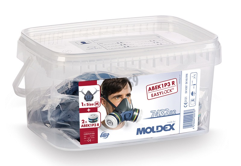 Pack Moldex mask series 7000 (Size M) + filters - Protection Level A1B1E1K1 P3 R