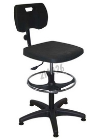 Eco polyurethane chair- Adjustable backrest - Base: glides - with footrest - Height 580 - 820 mm